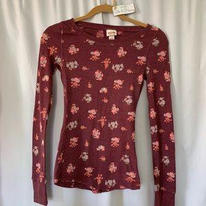 Maroon Waffle Knit Sweater w/ Floral Pattern🍯